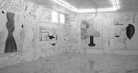 Crazy Drawing Room, en utställning av Monica Höll på Gallery Niklas Belenius